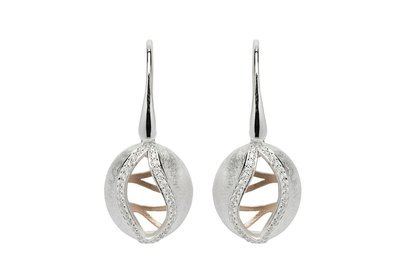 Unique & Co Silver, Rose Gold and CZ Drop Earrings
