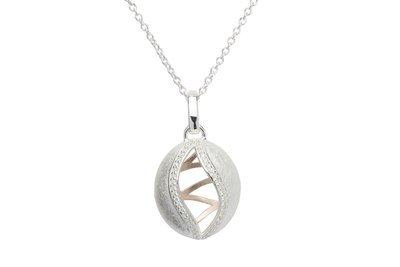 Unique & Co Silver, Rose Gold and CZ Necklace