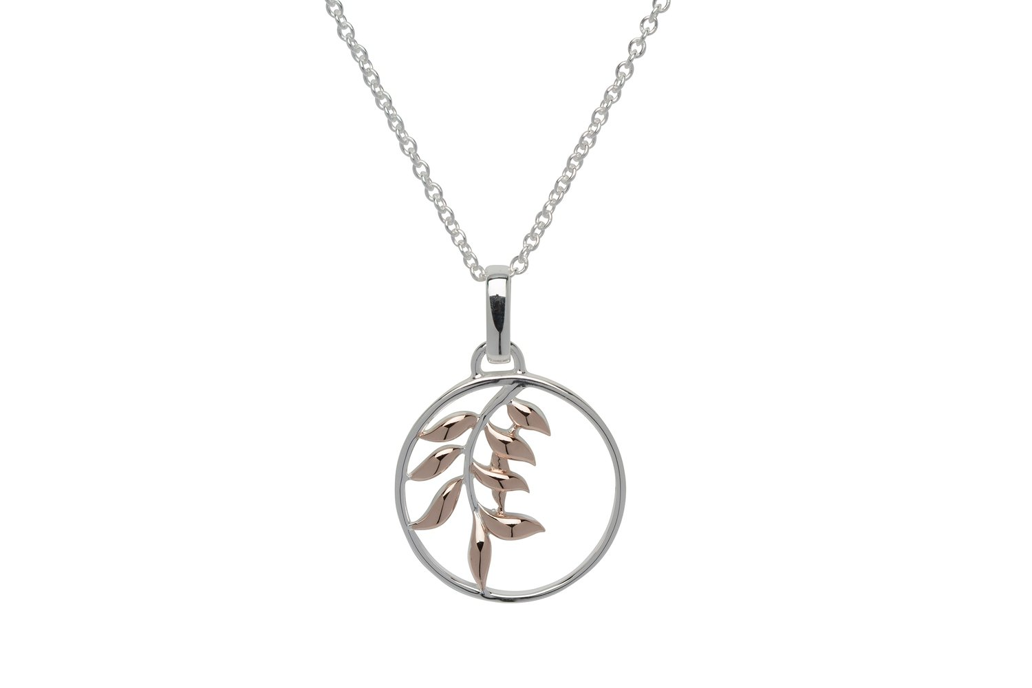 Unique & Co Silver and Rose Gold Leaf Circle Necklace