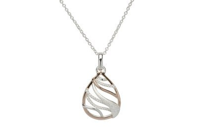 Unique & Co Silver, Rose Gold and CZ Squiggle Necklace