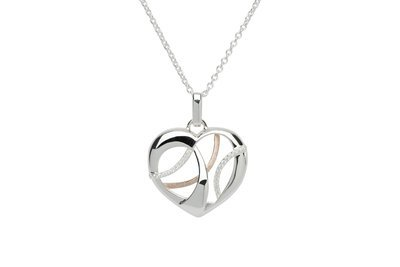 Unique & Co Silver, Rose Gold and CZ Open Heart Necklace