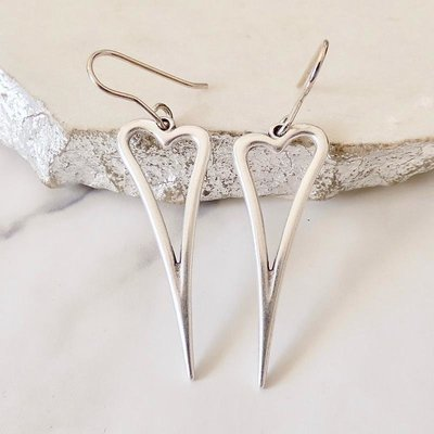 Orli Open Pointed Heart Earrings Silver