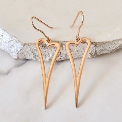 Orli Open Pointed Heart Earrings Rose Gold