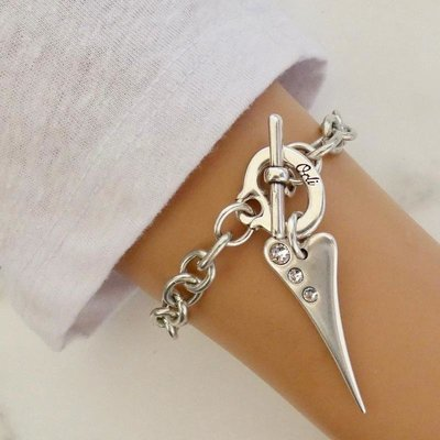 Orli Chunky Pointed Crystal Heart Bracelet Silver