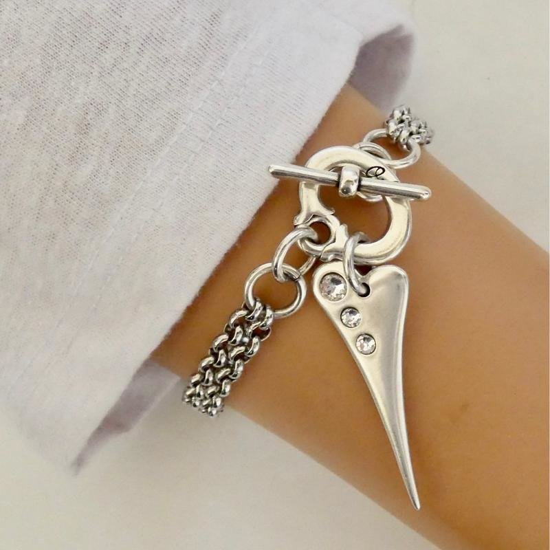 Orli Double Chain Mini Pointed Crystal Heart Bracelet Silver