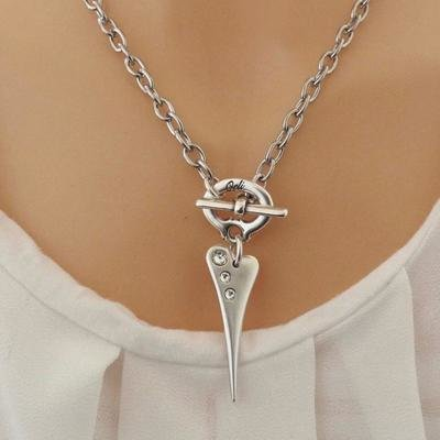 Orli Pointed Crystal Heart T-Bar Necklace