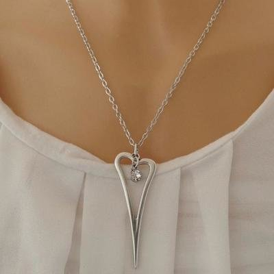 Orli Open Pointed Heart and Swarovski Crystal Fine Necklace