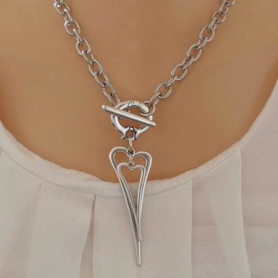 Orli Open Pointed Heart and Mini Heart Chunky Necklace Silver