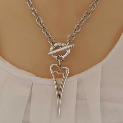 Orli Open Pointed Heart and Mini Heart Chunky Necklace Silver and Rose Gold