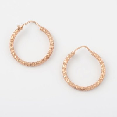 Virtue Exquisite Rose Gold Diamond Cut Hoops