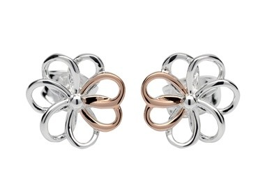 Unique & Co Silver & Rose Gold Flower Earrings