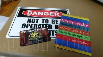 Printed Aluminium Cards & Signage