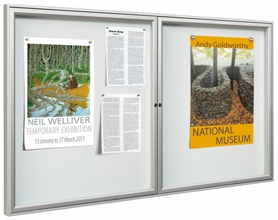 Allure range of dual door indoor Notice Boards 750mm x 1200mm x 30mm