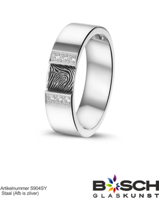 Stalen ring 409 S met vingerafdruk