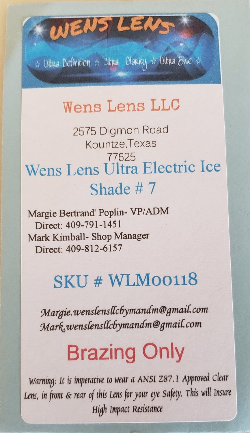 Wens Lens Ultra Cool Blue Electric Ice Shade # 7