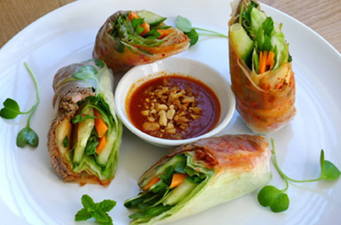 34.  Grilled Beef Spring Rolls (2 Rolls)