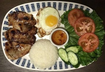 56.  Honey Grilled Pork Loin, Egg, Salad & Steamed Rice (Com Thit Nuong, Trung Chien, Salad)