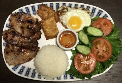 59.  Grilled Pork, Shrimp Paste Wrapped Tofu Skin, Egg, Salad & Steamed Rice (Com Thit Nuong, Tau Hu Ky, Trung Chien, Salad)