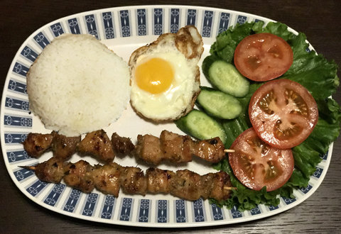 55.  Honey Lemon-Grass Grilled Chicken, Egg, Salad & Steamed Rice (Com Ga Nuong, Trung Chien & Salad)