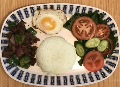 58.  Shaking Beef Filet Migon Cubes, Egg, Salad & Steamed Rice (Com Bo Luc Lac, Trung Chien, Salad)