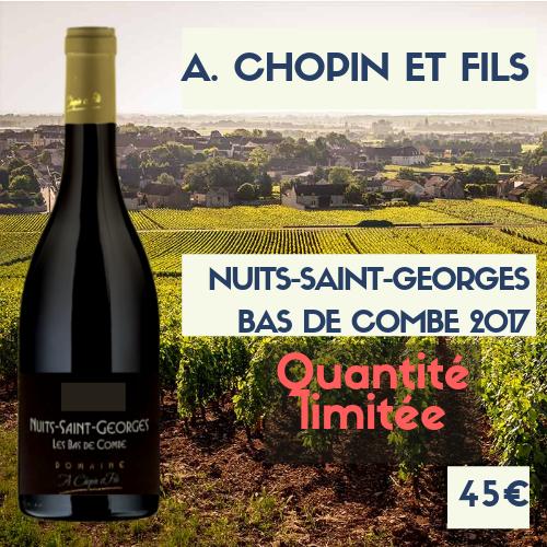 """6 Bouteilles de Nuits-Saint-Georges """"Bas de Combe"""", A. Chopin et fils  2017 (45€)"""