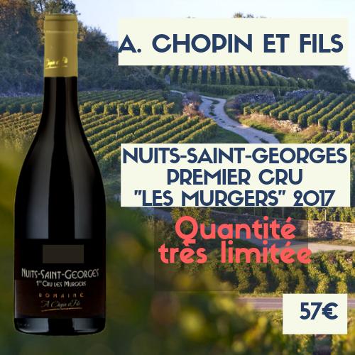 """1 Bouteilles de Nuits-Saint-Georges premier cru  """"les Murgers"""" A. Chopin et fils 2017 (57€)"""