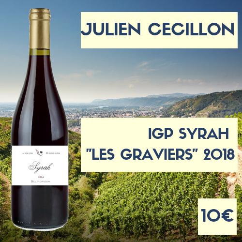 """3 bouteilles de Julien Cécillon, Syrah """"les graviers"""" IGP Collines Rhodaniennes 2018  (10€)"""