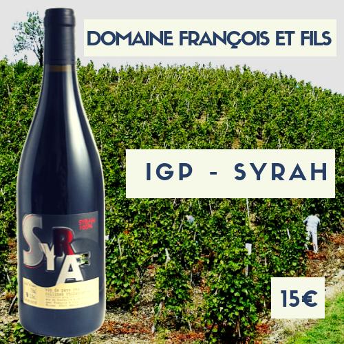6 bouteilles IGP Syrah  2018  domaine Francois et fils (15€)