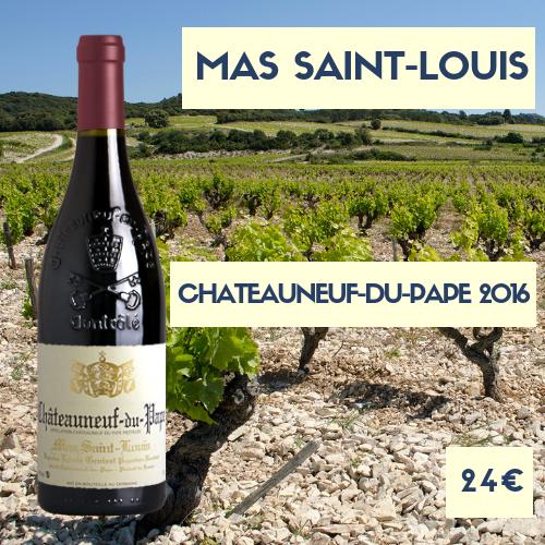 2 bouteilles de Mas Saint-Louis, Châteauneuf-du-Pape Rouge 2016 (24€)