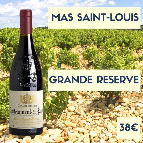 6 bouteilles du Mas Saint-Louis, Châteauneuf-du-Pape Rouge Grande Réserve 2016 (38€)