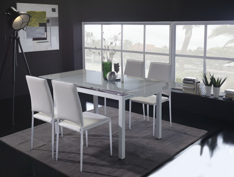 Mesa Comedor Extensible cristal blanco
