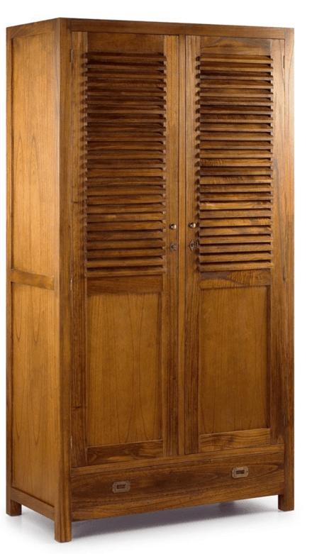 Armario de estilo colonial con 2 puertas, 5 cajones.