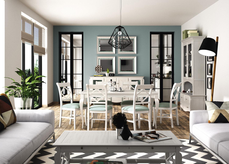 Mesa rectangular de 160 extensible, Con pata recta / Mediterráneo
