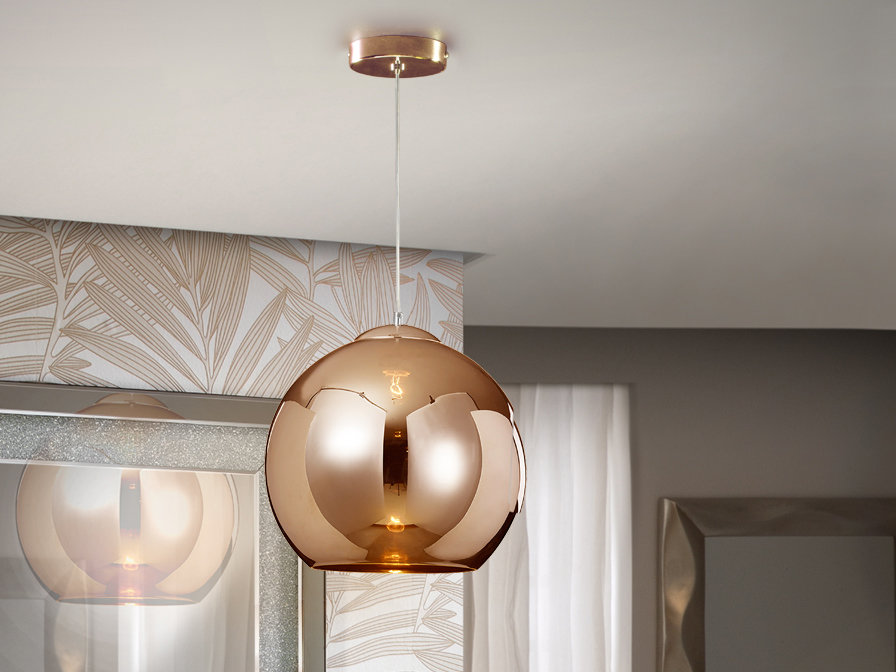Lámpara metal cobre. Tulipa de cristal espejado.