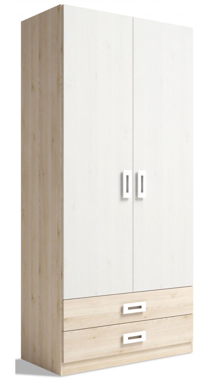 Armario juvenil dos puertas y dos cajones colores pino-blanco