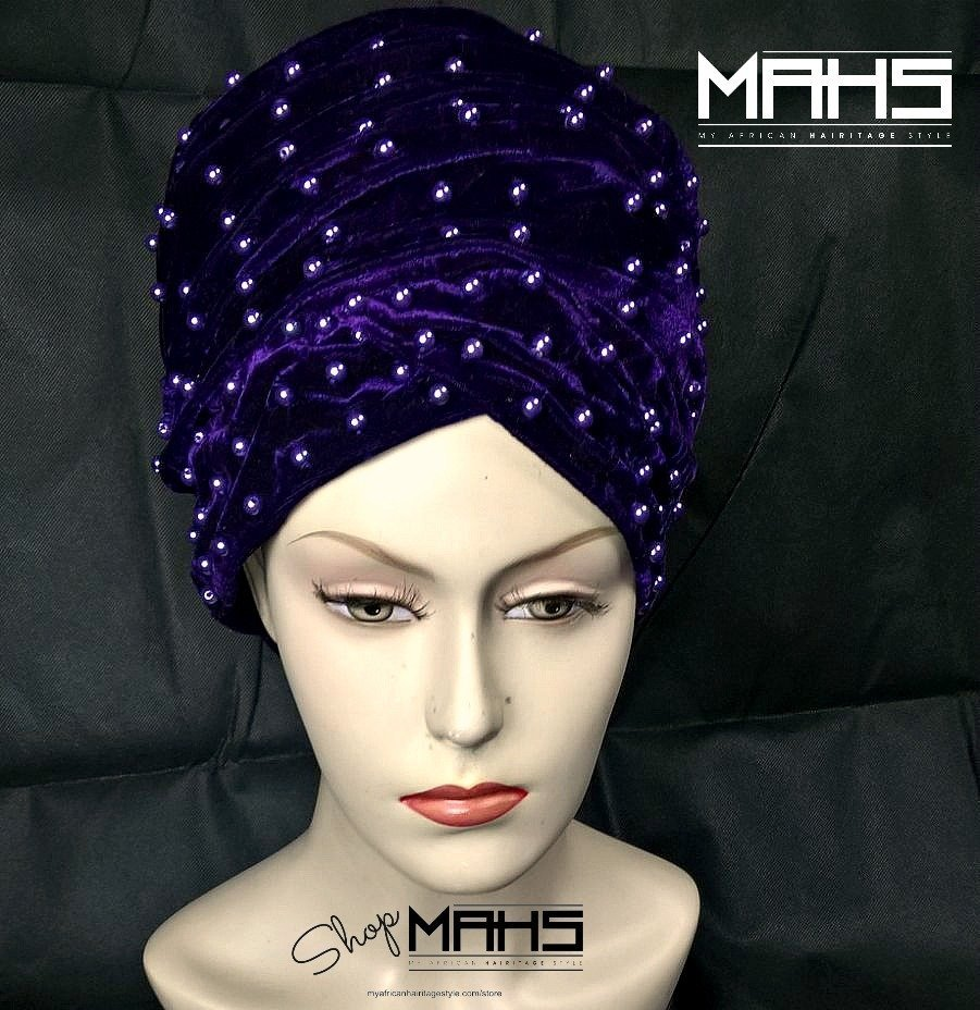 MAHS LUXURY VELVET CAP TURBAN with Pearls (Purple)