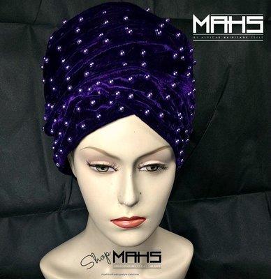 MAHS LUXURY VELVET CAP TURBAN with Pearls (Purple)