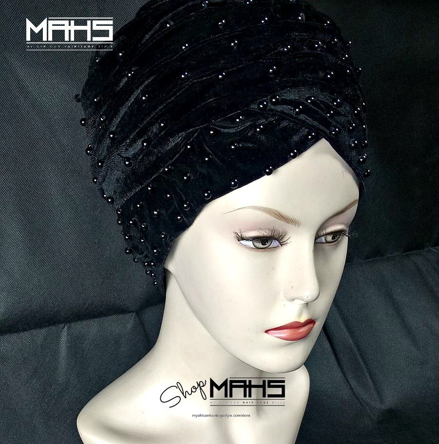MAHS LUXURY VELVET CAP TURBAN with Pearls (Black)