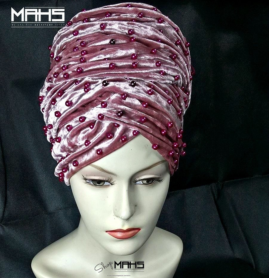 MAHS LUXURY VELVET CAP TURBAN with Pearls (Blush Pink)
