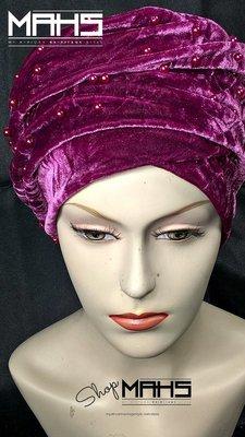 MAHS LUXURY VELVET CAP TURBAN with Pearls (Fuschia Pink)