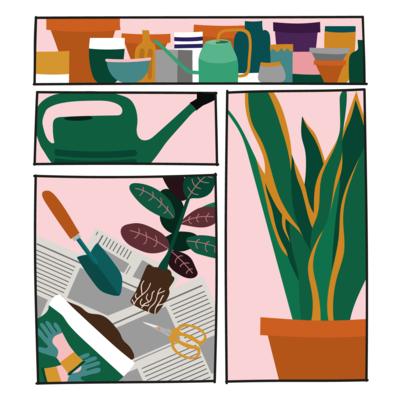 Plant collage shirt