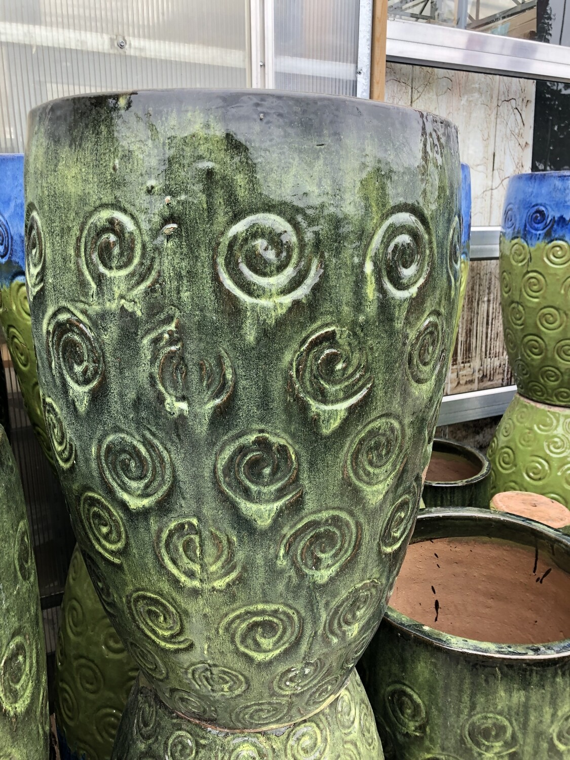 Green Swirl Ceramic Pot