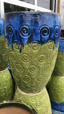 Green & Blue Swirl Ceramic Pot