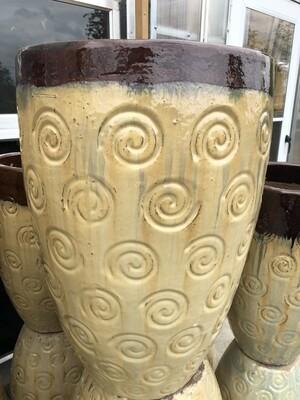 Dark Brown & Beige Swirl Ceramic Pot
