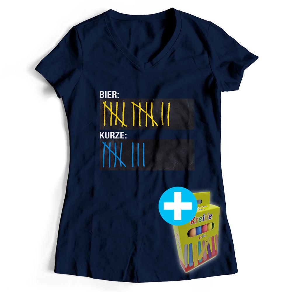 T-Shirt Bier Kurze Schnaps Strichliste Tafel Kreide Saufen (Damen Farbe Navy) 92010
