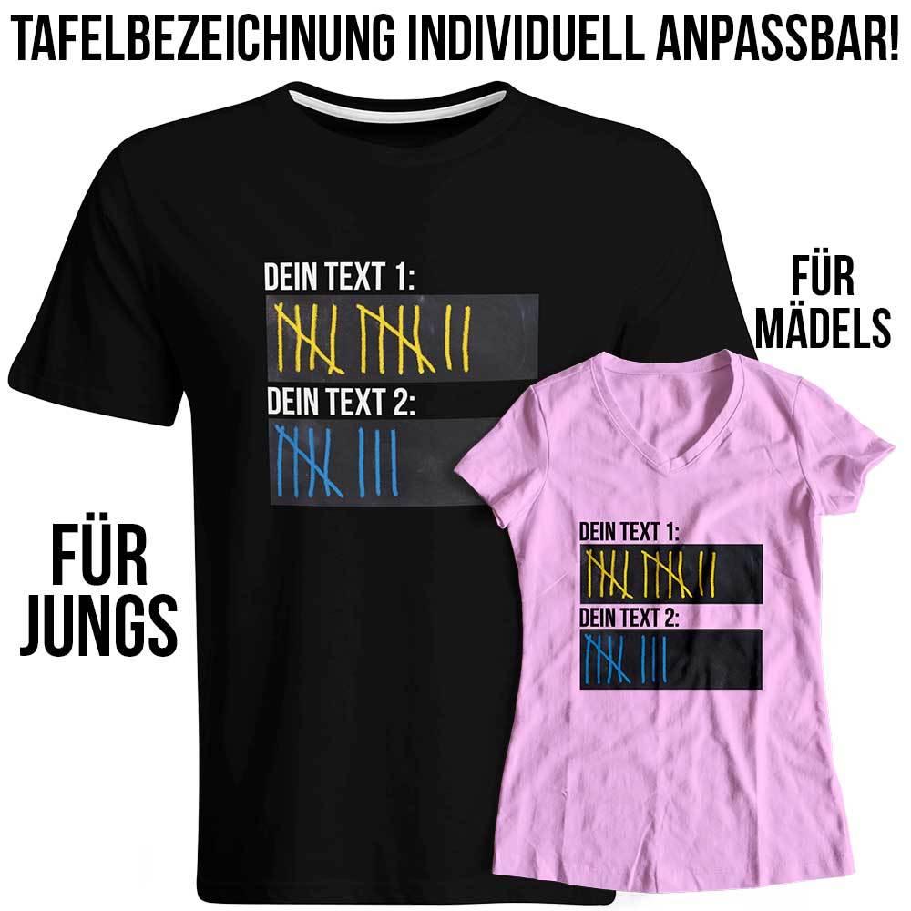 T-Shirt Strichliste Bier Kurze Schnaps Tafel Kreide Saufen (Konfigurierbar mit Wunschtext) 92062