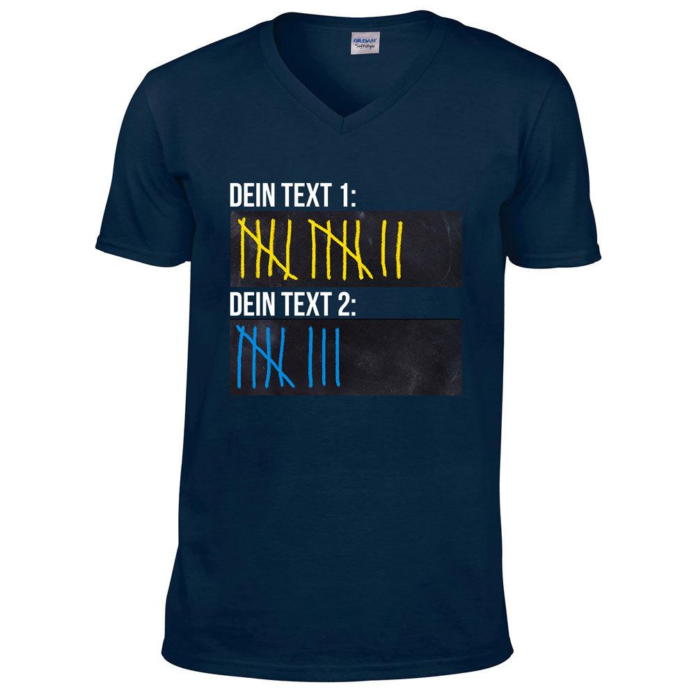 T-Shirt Strichliste Bier Kurze Schnaps Tafel Kreide Saufen (Konfigurierbar mit Wunschtext)