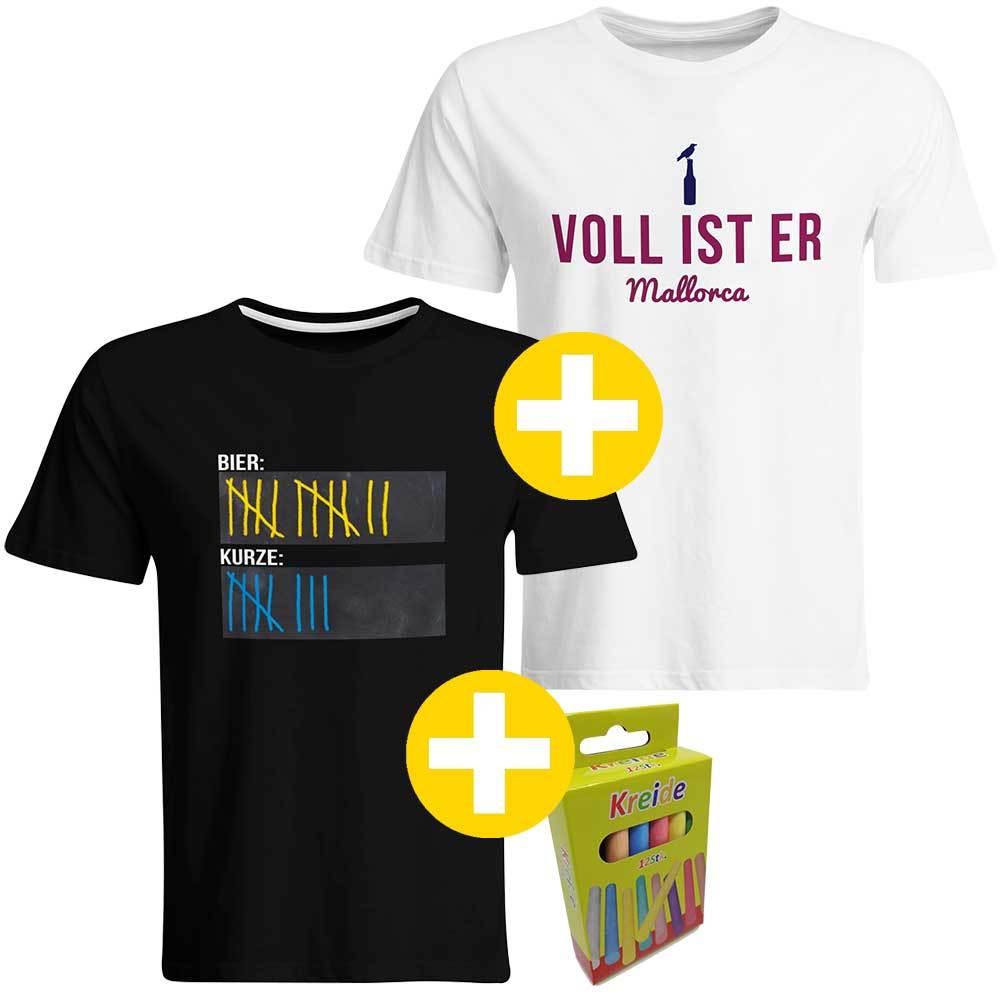 """Sauf-Counter"" T-Shirt + ""Voll ist er"" T-Shirt (Herren) 92048"