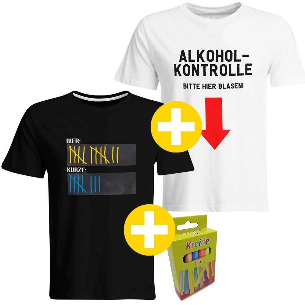 """""""Sauf-Counter"""" T-Shirt + """"Alkoholkontrolle - Bitte hier blasen"""" T-Shirt (Herren) 92050"""