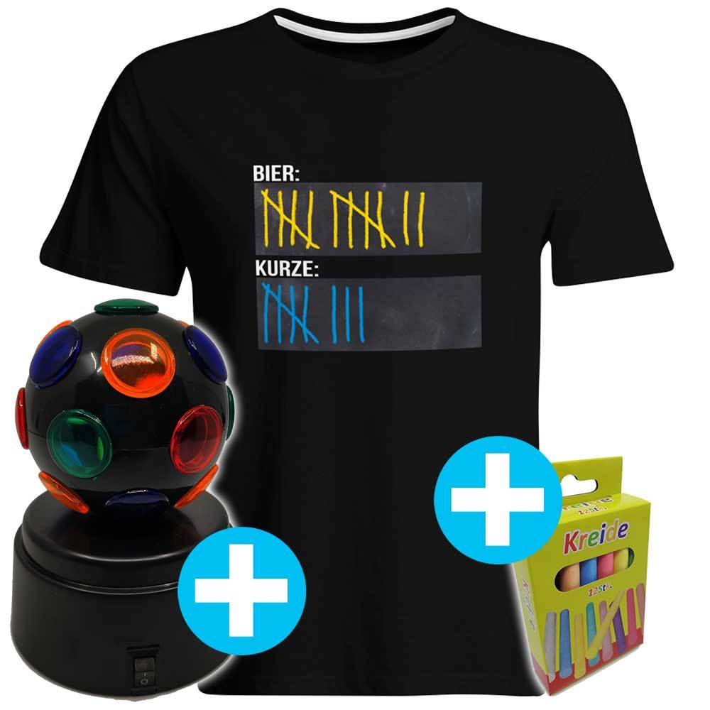 Original Sauf-Counter T-Shirt inkl. 12er-Pack Kreide & Diskokugel (Damen & Herren, alle Farben) DISKOKUGEL-DEAL